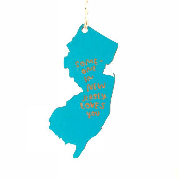 Photograph of Laser-engraved Someone in New Jersey Loves You Ornament - Small