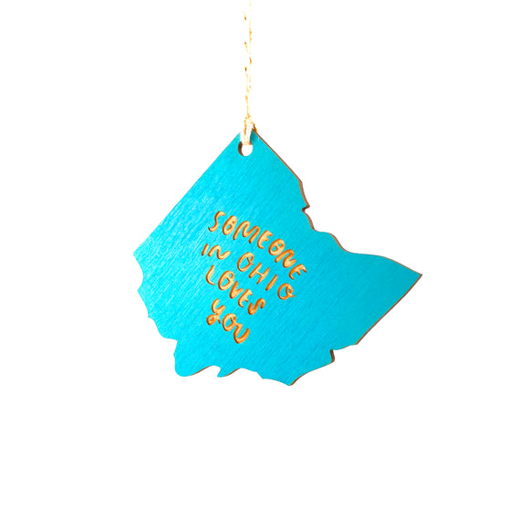 Photograph of Laser-engraved 'Someone in Ohio Loves You' Ornament - Large