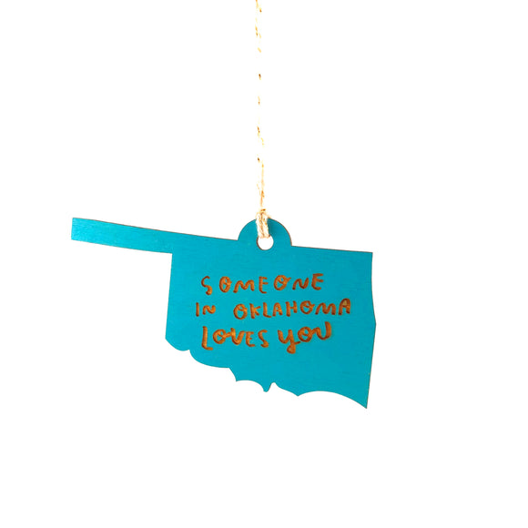 Photograph of Laser-engraved 'Someone in Oklahoma Loves You' Ornament - Large