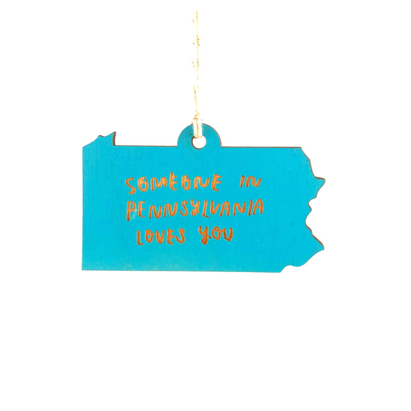Photograph of Laser-engraved 'Someone in Pennsylvania Loves You' Ornament - Large