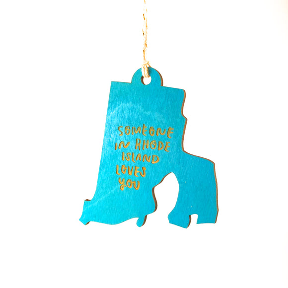 Photograph of Laser-engraved 'Someone in Rhode Island Loves You' Ornament - Large