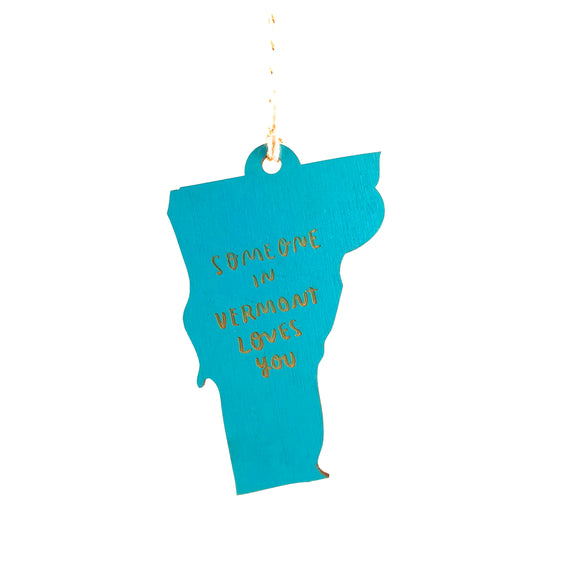 Photograph of Laser-engraved 'Someone in Vermont Loves You' Ornament - Large
