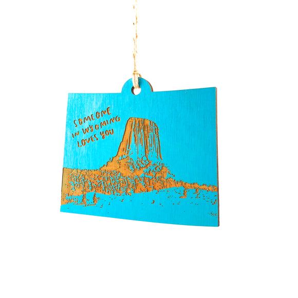 Photograph of Laser-engraved 'Someone in Wyoming Loves You' Ornament - Large