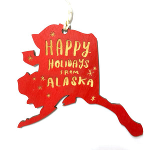 Photograph of Laser-engraved 'Happy Holidays from Alaska' Ornament - Small