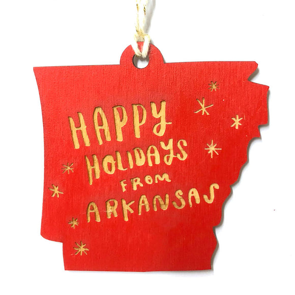 Photograph of Laser-engraved 'Happy Holidays from Arkansas' Ornament - Large