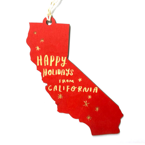 Photograph of Laser-engraved 'Happy Holidays from California' Ornament - Large