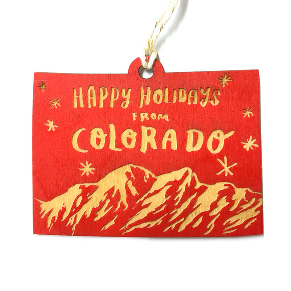 Photograph of Laser-engraved 'Happy Holidays from Colorado' Ornament - Large