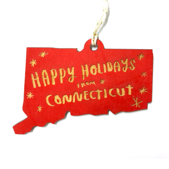 Photograph of Laser-engraved Happy Holidays from Connecticut Ornament - Small