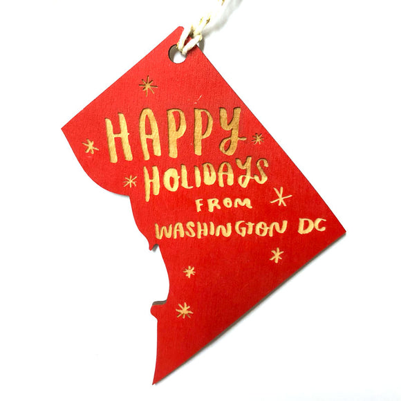 Photograph of Laser-engraved 'Happy Holidays from District of Columbia' Ornament - Large