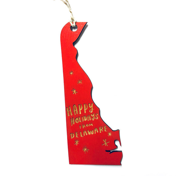 Photograph of Laser-engraved 'Happy Holidays from Delaware' Ornament - Large