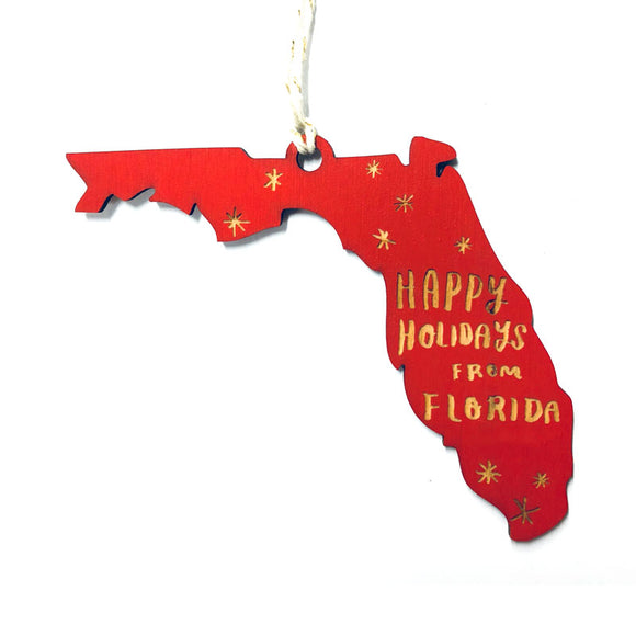 Photograph of Laser-engraved 'Happy Holidays from Florida' Ornament - Large