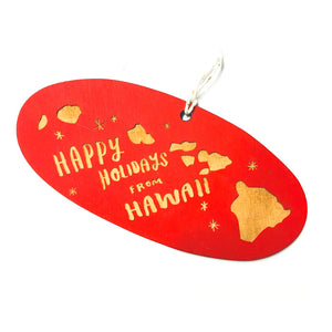 Photograph of Laser-engraved Happy Holidays from Hawaii Ornament - Large