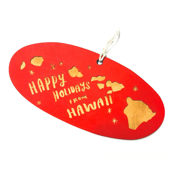Photograph of Laser-engraved 'Happy Holidays from Hawaii' Ornament - Large
