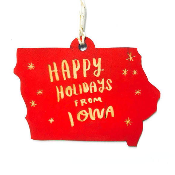 Photograph of Laser-engraved 'Happy Holidays from Iowa' Ornament - Large