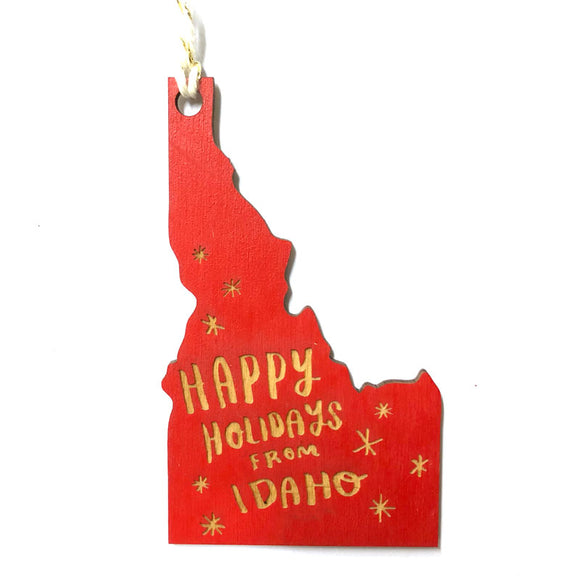 Photograph of Laser-engraved Happy Holidays from Idaho Ornament - Small