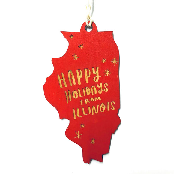 Photograph of Laser-engraved Happy Holidays from Illinois Ornament - Large