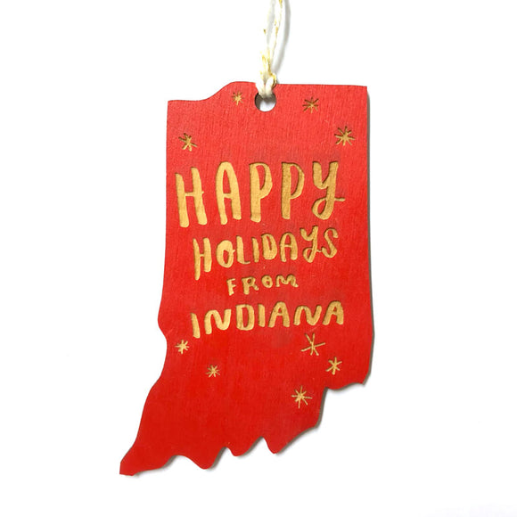 Photograph of Laser-engraved Happy Holidays from Indiana Ornament - Large