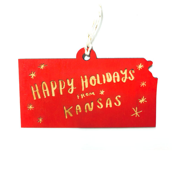 Photograph of Laser-engraved 'Happy Holidays from Kansas' Ornament - Large