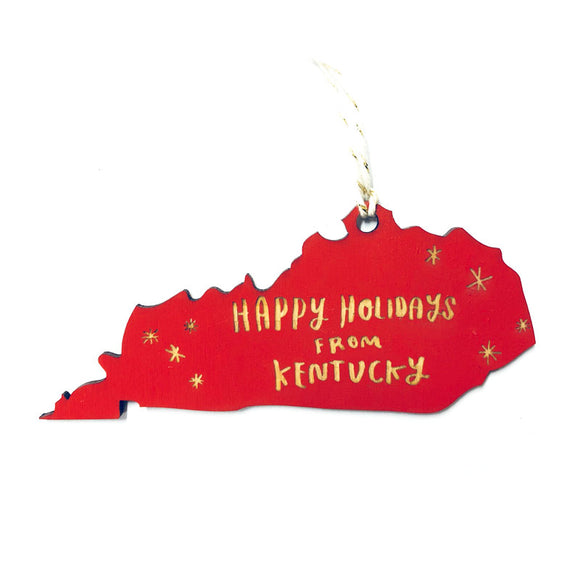 Photograph of Laser-engraved Happy Holidays from Kentucky Ornament - Large
