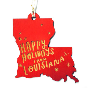 Photograph of Laser-engraved 'Happy Holidays from Louisiana' Ornament - Large