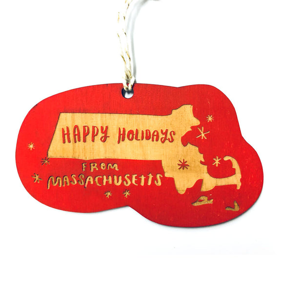 Photograph of Laser-engraved Happy Holidays from Massachusetts Ornament - Large