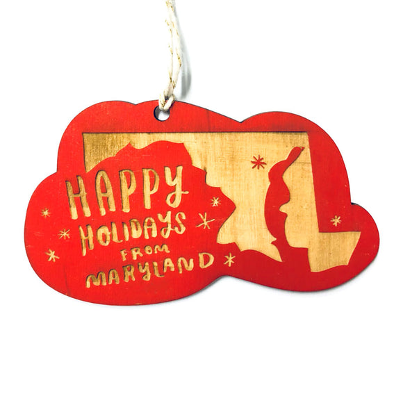 Photograph of Laser-engraved 'Happy Holidays from Maryland' Ornament - Large