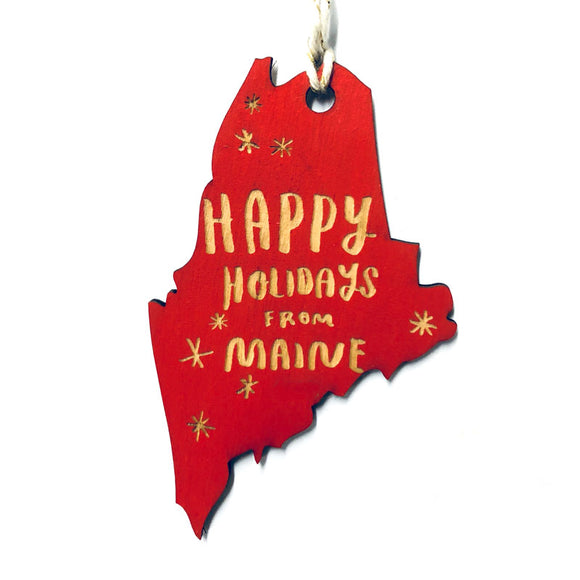 Photograph of Laser-engraved Happy Holidays from Maine Ornament - Small