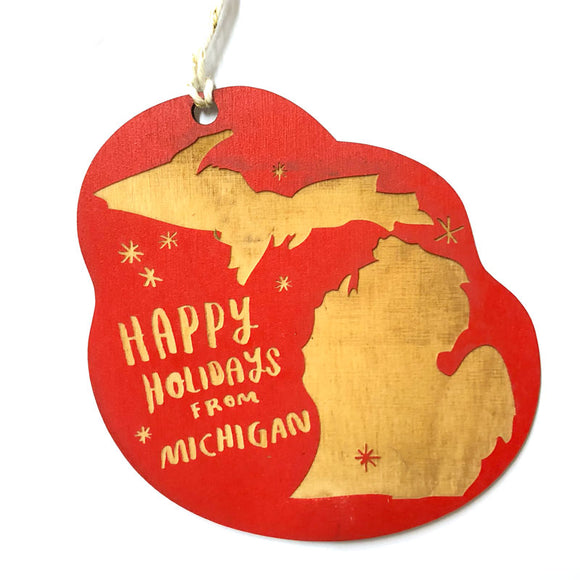Photograph of Laser-engraved 'Happy Holidays from Michigan' Ornament - Large