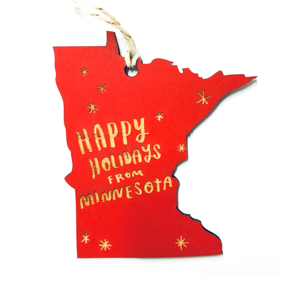 Photograph of Laser-engraved Happy Holidays from Minnesota Ornament - Small