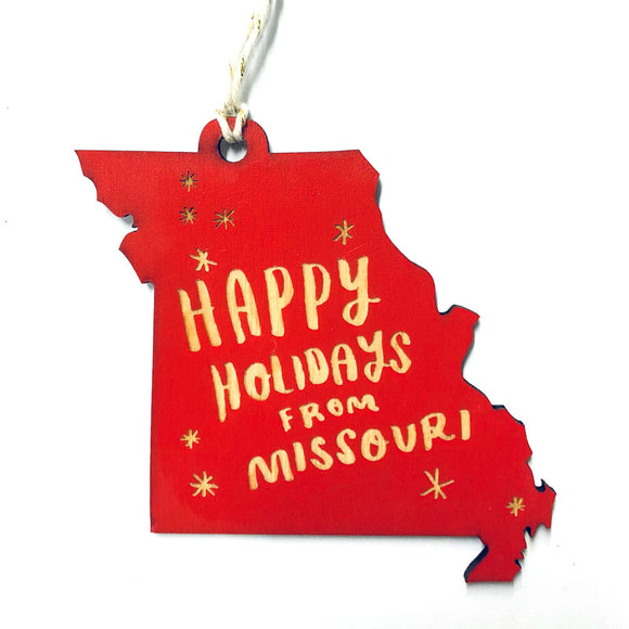 Photograph of Laser-engraved 'Happy Holidays from Missouri' Ornament - Large