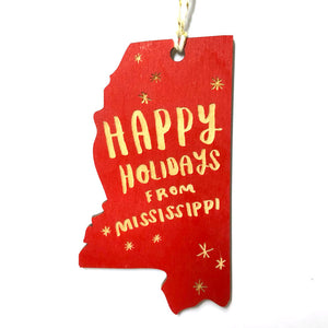 Photograph of Laser-engraved 'Happy Holidays from Mississippi' Ornament - Large