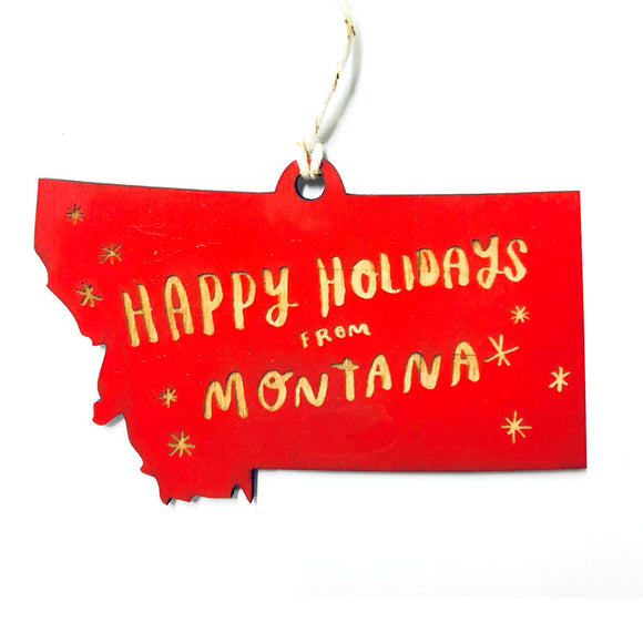 Photograph of Laser-engraved Happy Holidays from Montana Ornament - Small