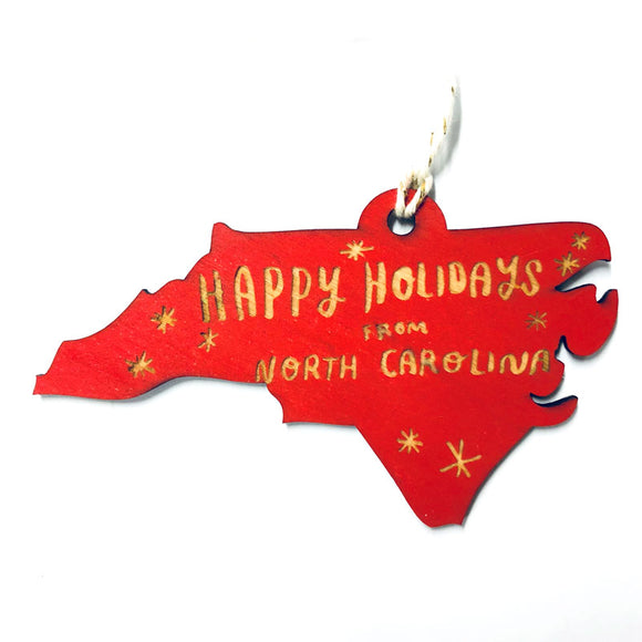 Photograph of Laser-engraved 'Happy Holidays from North Carolina' Ornament - Large