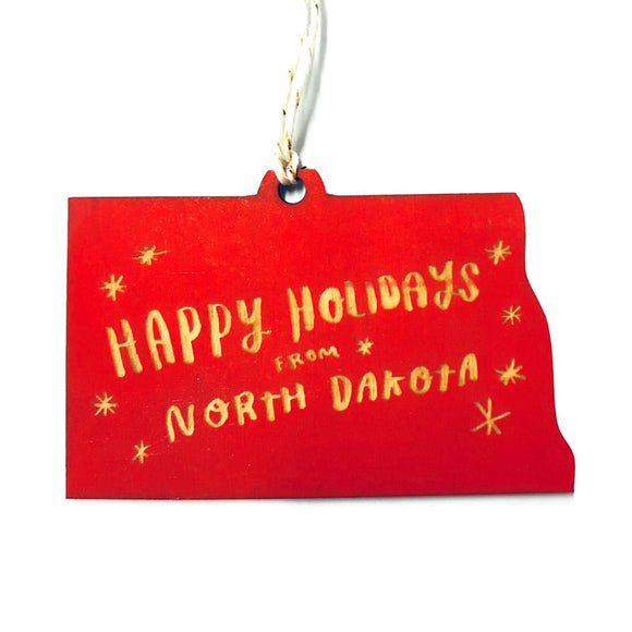 Photograph of Laser-engraved Happy Holidays from North Dakota Ornament - Small