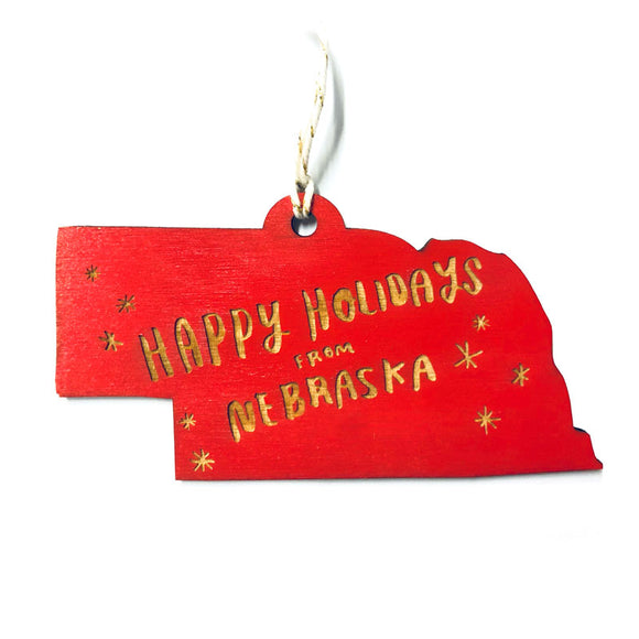 Photograph of Laser-engraved 'Happy Holidays from Nebraska' Ornament - Large