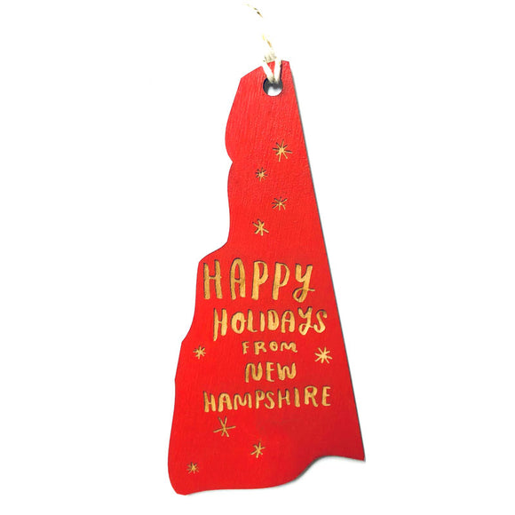 Photograph of Laser-engraved Happy Holidays from New Hampshire Ornament - Small