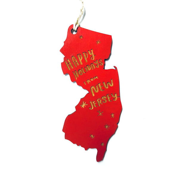 Photograph of Laser-engraved Happy Holidays from New Jersey Ornament - Large