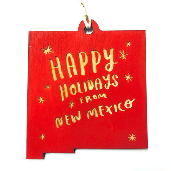 Photograph of Laser-engraved 'Happy Holidays from New Mexico' Ornament - Large