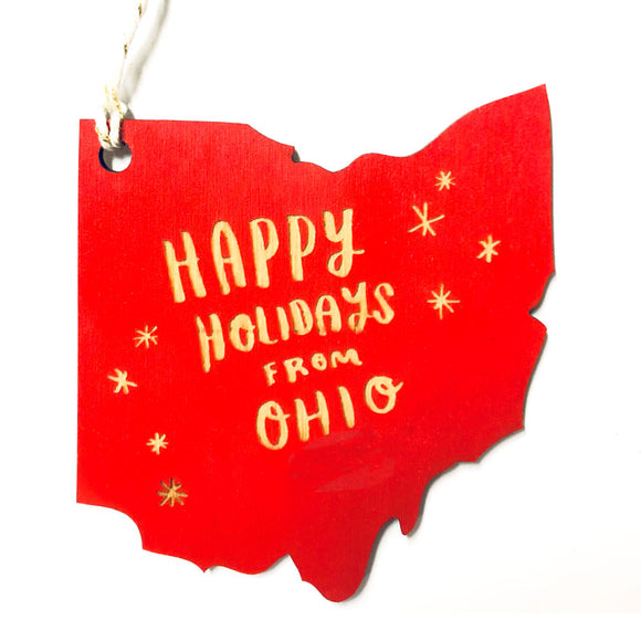 Photograph of Laser-engraved 'Happy Holidays from Ohio' Ornament - Large