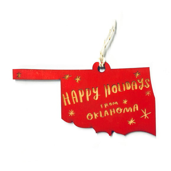 Photograph of Laser-engraved 'Happy Holidays from Oklahoma' Ornament - Large