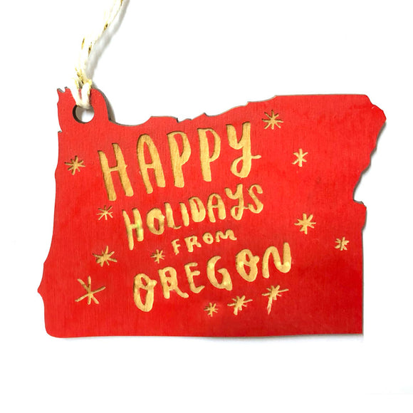 Photograph of Laser-engraved Happy Holidays from Oregon Ornament - Small