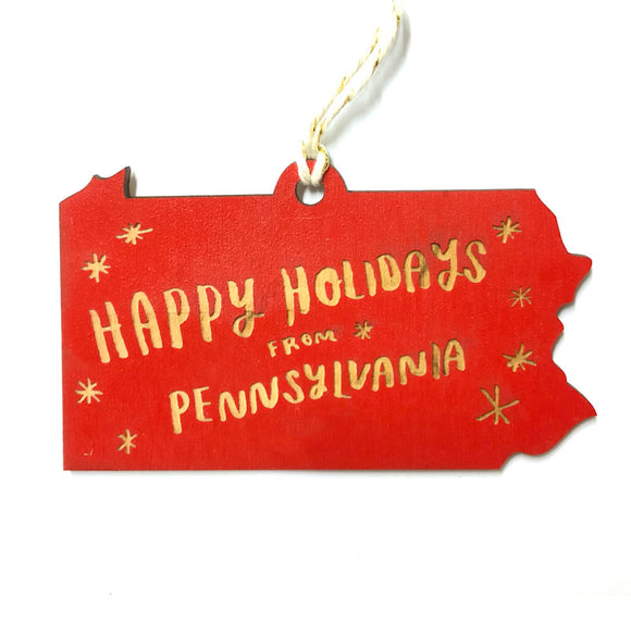 Photograph of Laser-engraved 'Happy Holidays from Pennsylvania' Ornament - Large