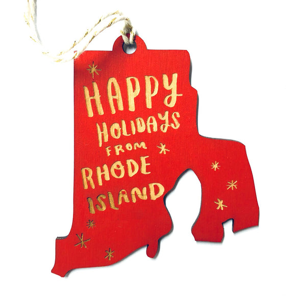 Photograph of Laser-engraved Happy Holidays from Rhode Island Ornament - Large