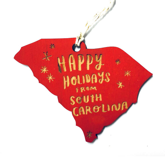Photograph of Laser-engraved Happy Holidays from South Carolina Ornament - Small