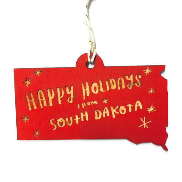 Photograph of Laser-engraved Happy Holidays from South Dakota Ornament - Small