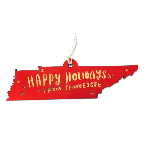 Photograph of Laser-engraved Happy Holidays from Tennessee Ornament - Small