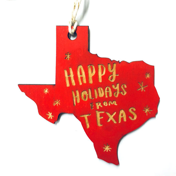 Photograph of Laser-engraved 'Happy Holidays from Texas' Ornament - Large