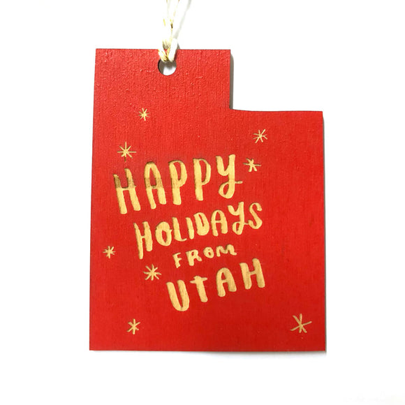 Photograph of Laser-engraved 'Happy Holidays from Utah' Ornament - Large