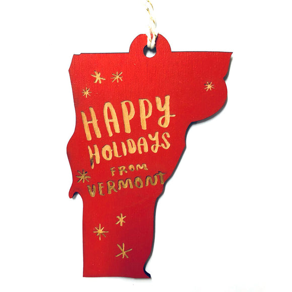 Photograph of Laser-engraved 'Happy Holidays from Vermont' Ornament - Large