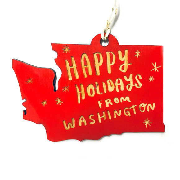 Photograph of Laser-engraved Happy Holidays from Washington Ornament - Large